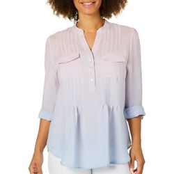 Zac & Rachel Womens Pleated Ombre Roll Tab Top