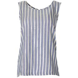 Zac & Rachel Womens Striped Lace Up Detail Sleeveless Top