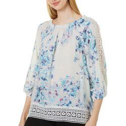 Zac & Rachel Womens Floral Print Crepe Crochet Peasant Top