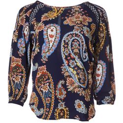 Zac & Rachel Womens Paisley Print Round Neck Top