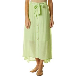 Zac & Rachel Womens Solid Button Front Skirt