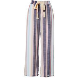 Womens Striped Wide Leg Linen Pants