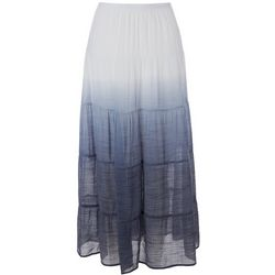 Zac & Rachel Womens Solid Tiered Maxi Skirt