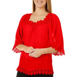 Zac & Rachel Womens Solid Crochet Trim Top