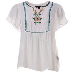 Zac & Rachel Womens Solid Embroidered Yoke Top