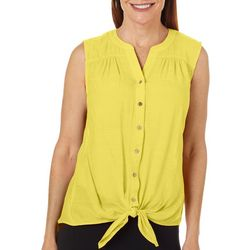 Womens Solid Tie Front Sleeveless Top