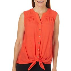 Zac & Rachel Womens Solid Tie Front Sleeveless Top