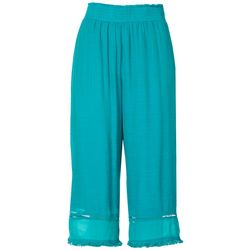 Womens Linen Solid Cropped Pull-On Pants