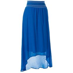 Zac & Rachel Womens Solid Linen High Low Skirt