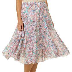 Zac & Rachel Womens Paisley Print Skirt
