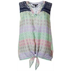 Zac & Rachel Womens Crochet Printed Tie Front Top