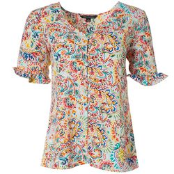 Womens Paisley Button Embellished Top