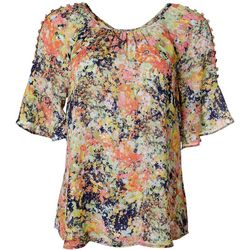 Zac & Rachel Womens Floral Button Embellished Top