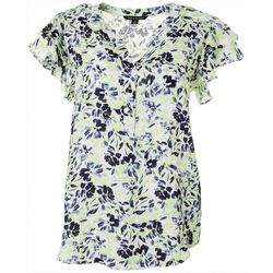 Zac & Rachel Womens Floral Ruffle Sleeve Top
