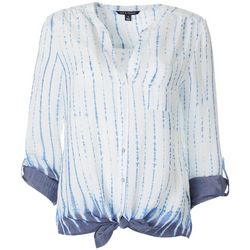 Zac & Rachel Womens Ombre Tie Dye Button Down Tie Front Top