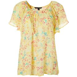 Zac & Rachel Womens Floral Butterfly Sleeve Top