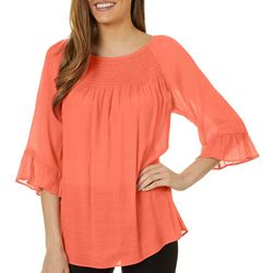Zac & Rachel Womens Solid Smocked Neckline Bell Sleeve Top