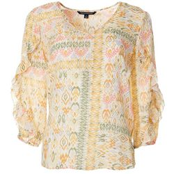 Zac & Rachel Womens Mixed Boho Print Ruffle Sleeve Top