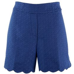 Coral Bay Womens Solid Textured Scalloped Shorts