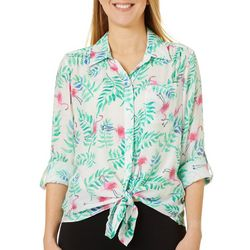 Zac & Rachel Womens Tropical Flamingo Tie Front Top