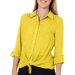 Zac & Rachel Womens Solid Chest Pocket Button Down Top