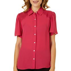 Nanette Lepore Womens Solid Button Down Flutter Sleeve Top