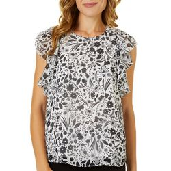Nanette Lepore Womens Floral Print Ruffle Accent Top
