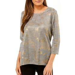 Womens Foil Detail Round Neck Top