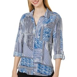 Zac & Rachel Womens Mixed Stripe Button Down Top