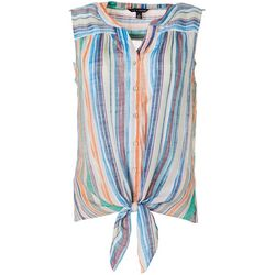 Zac & Rachel Womens Striped Tie Front Sleeveless Top