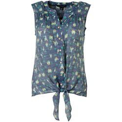 Zac & Rachel Womens Parrot Print Button Down Tie Front Top