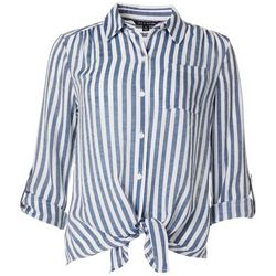 Zac & Rachel Womens Striped Button Down Chest Pocket Top