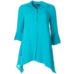 Zac & Rachel Womens Solid Button Down Tunic Top