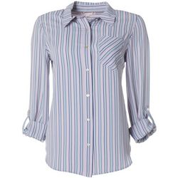 Nanette Lepore Womens Striped Print Button Down Top