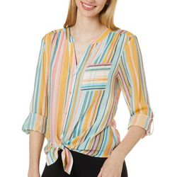 Zac & Rachel Womens Mixed Stripe Chest Pocket Tie Front Top