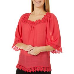 Zac & Rachel Womens Lace Square Neck Top