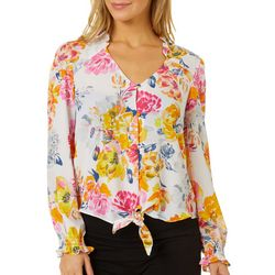 Nanette Lepore Womens Floral Tie Front Button Down Top