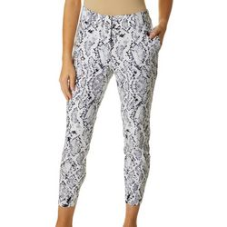 Prosecco Womens Snake Skin Print Ankle Pants