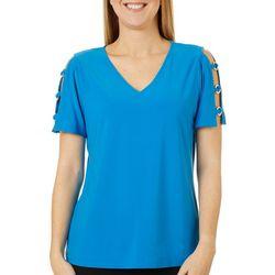Ivy Road Womens Solid Grommet Sleeve Detail Top