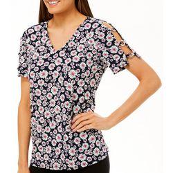 Ivy Road Womens Floral Puff Print Grommet Sleeve Detail Top