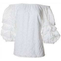 Coco Bianco Womens Solid Eyelet Off The Shoulder Ruffle Top