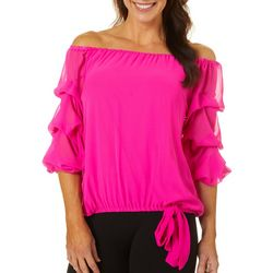 Coco Bianco Womens Solid Off The Shoulder Ruffle Top
