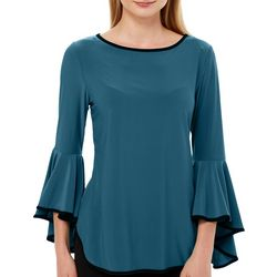 Coco Bianco Womens Contrast Trim Bell Sleeve Top