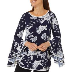 Coco Bianco Womens Floral Puff Print Bell Sleeve Top