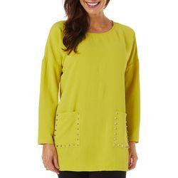 Coco Bianco Womens Solid Stud Embellished Pocket Top