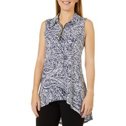 Ivy Road Womens Paisley Puff Print Sleeveless Top