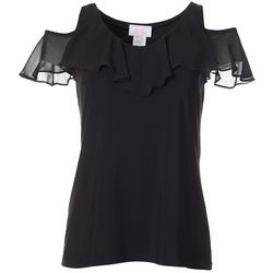 Ivy Road Womens Solid Cold Shoulder Top