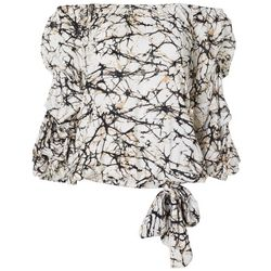 Coco Bianco Womens Marble Print Off The Shoulder Ruffle Top