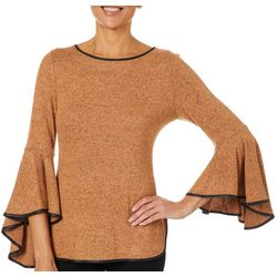 Coco Bianco Womens Contrast Trim Bell Sleeve Sweater