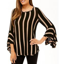 Coco Bianco Womens Shimmer Striped Bell Sleeve Top